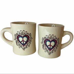 2 NATURAL LIFE Peace Heart Boho Mugs